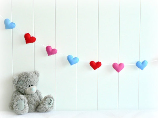 red, pink & blue felt heart banner
