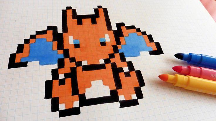 Handmade Pixel Art - How To Draw Charizard #pixelart