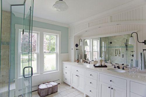 Traditional Bathroom Design,  love the bead board...would be good in boys bathroom..