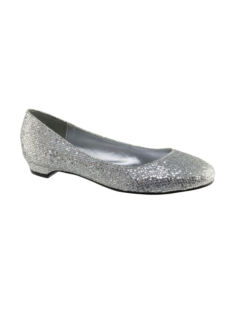Touch Ups Tamara 415 - Silver Glitter Flat Prom Shoes Online #thepromdresses