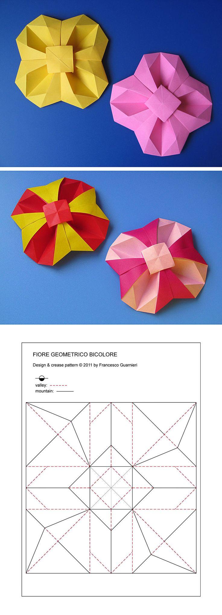 Origami: Fiore geometrico - Geometric Flower; Fiore geometrico bicolore - Bicolor Geometric Flower. Designed and folded by Francesco Guarnieri, April 2011. Crease Pattern: http://guarnieri-origami.blogspot.it/2013/01/fiore-geometrico.html