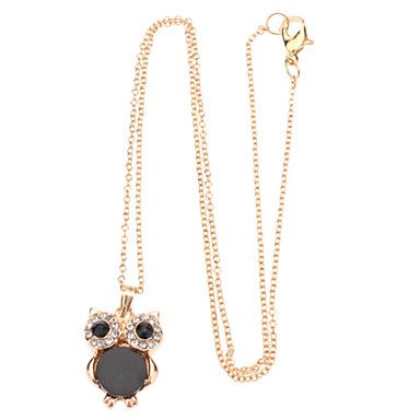 Natural Shell Owl Long Clavicle Drill Point Chain Necklace – GBP £ 2.07