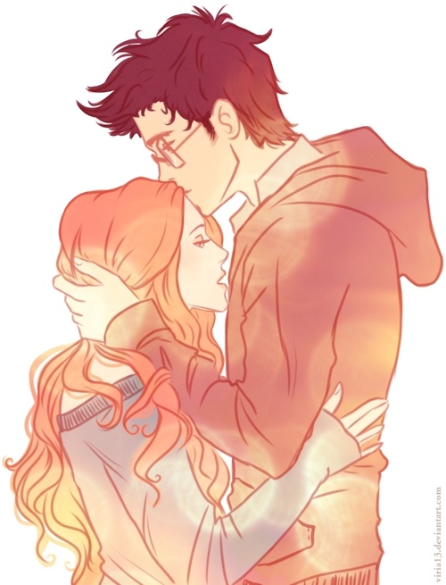 James Potter and Lily Evans|| I love this so much it's like James is consoling Lily, or just telling her he loves her. I  love it