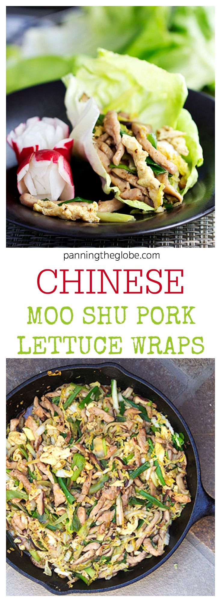 A healthy flavorful Chinese stir-fry of pork, cabbage, mushrooms and eggs, wrapped up in bibb lettuce leaves • Panning The Globe