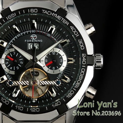 Forsining Stainless Steel Tourbillon Auto Wind Men's Stainless Steel Timepiece