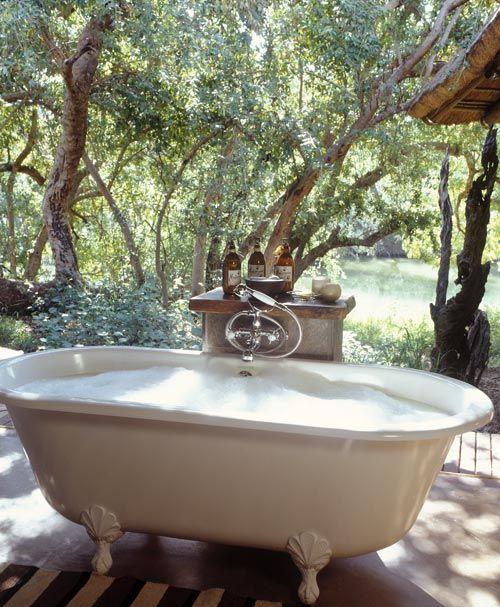 Outdoor bathtub…