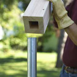 No Dig Diy Replacement For Chain Link Fence Cover The Posts With A Wooden Sleeve And Nail Slats To Covers Outdoor Projects In 2018 Pinterest