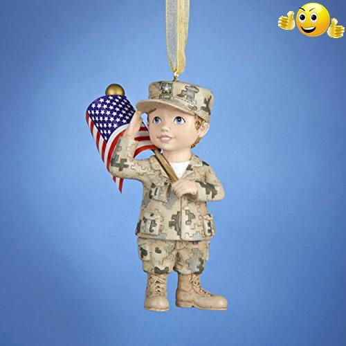 #limited Officially licensed merchandise #Army ornament depicts a young boy saluting and holding an American flag Boy is dressed in army fatigues Fully dimension...