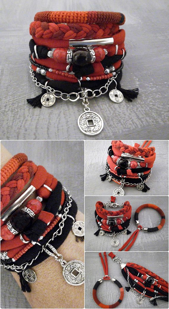 Red Black Boho Bracelet Set Chinese Coin Lucky Charm Bracelet
