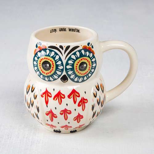 "Stop.+Smile.+Breathe.+Folk+Owl+Mug+-+Whoooo+doesn't+love+our+owl+mugs??+We+sure+do,+so+we+made+some+in+adorable+folk+art+designs!+Generous+16-ounce+ceramic+mug+in+a+fun+owl+shape,+with+a+brightly+colored+face+and+red+and+navy+feathers.+""Stop.+Smile.+Breathe.""+lines+the+inside+of+the+rim,+and+it's+dishwasher+and+microwave+safe,+making+it+the+perfect+everyday+mug!"