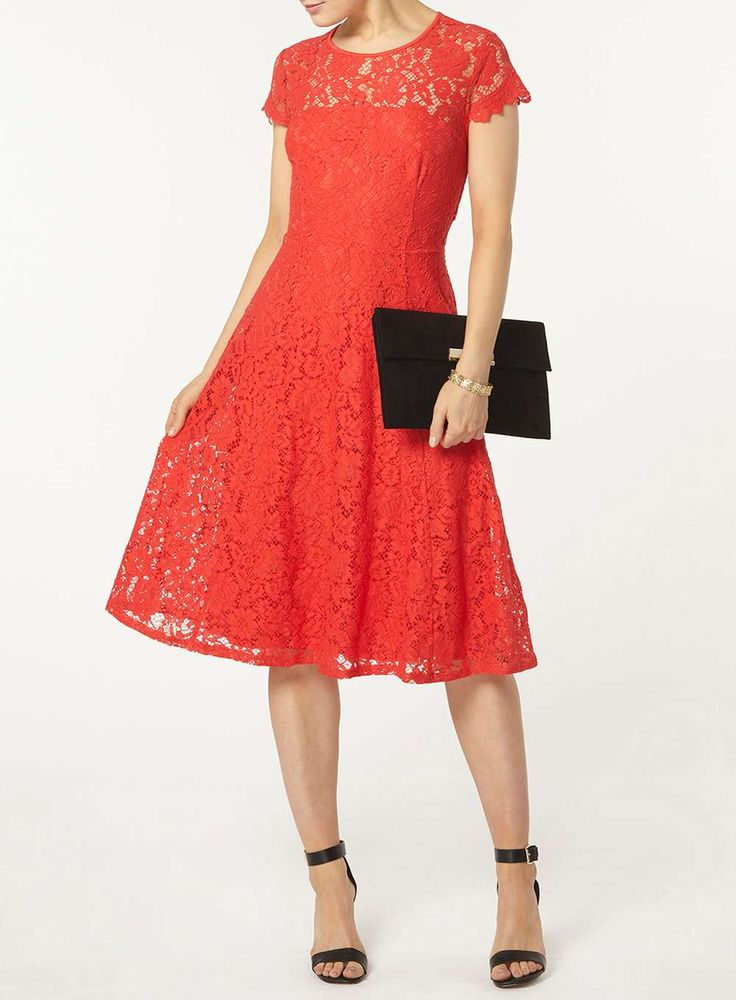 Coral Lace Fit & Flare Midi Dress