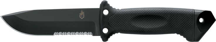 Gerber LMF II Survival Knife, Black [22-01629]. Rugged and reliable design in all our products. Can be used in various military, hunting, survival, tactical, industrial and outdoor situations. All products are field tested. Partially serrated blade. Plexiglass punch. Can be used as a hammer. Converts to a spear. Sheath has integrated sharpener. Customer Service number is 800-950-6161.