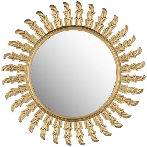 add a stunning touch to your entryway or master suite with this wall mirror showcasing an eyecatching sunburst silhouette