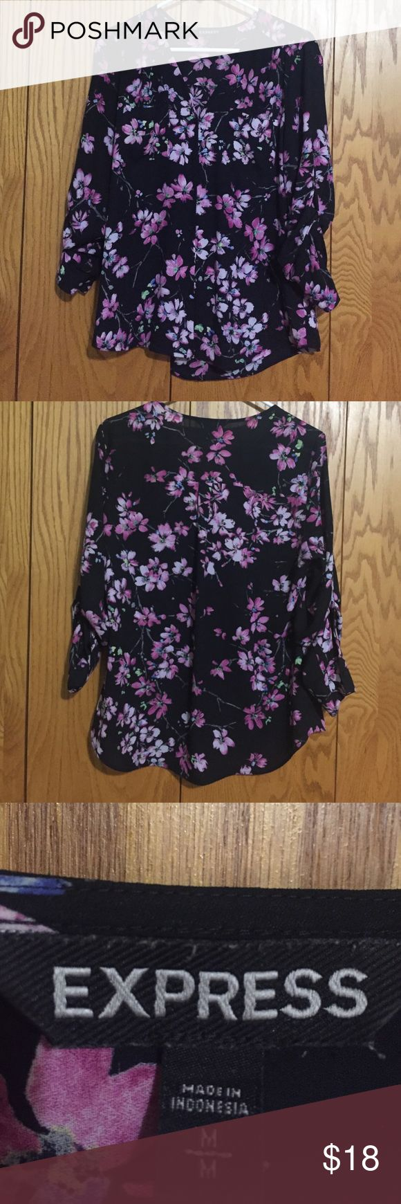 Express Flower Blouse Worn a handful of times. Good condition. Express Tops Blouses
