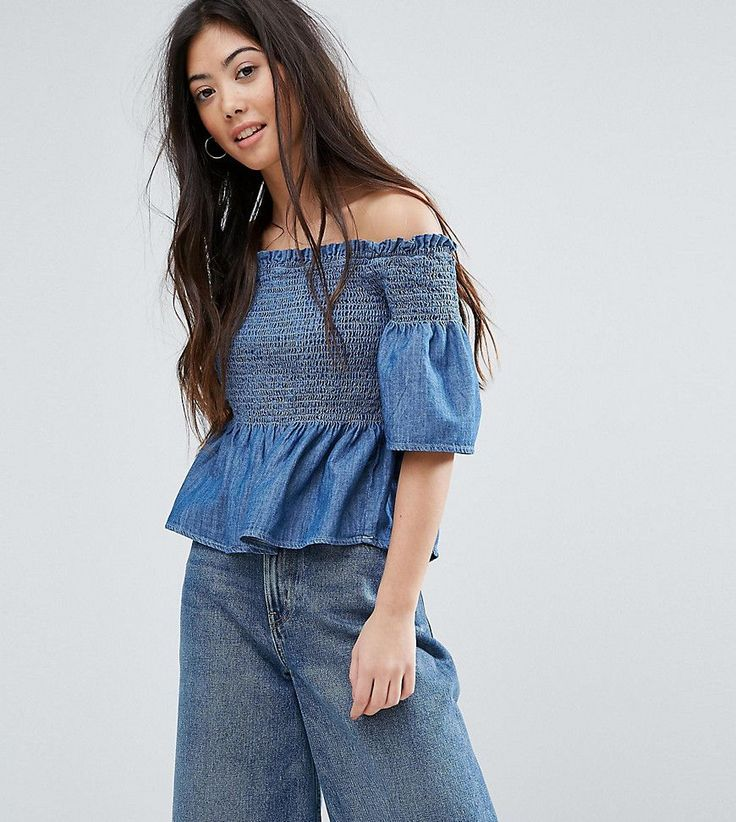 Get this New Look Petite's top off shoulder now! Click for more details. Worldwide shipping. New Look Petite Peplum Chambray Bardot Top - Blue: Top by New Look Petite, Shirred stretch denim, Bardot neck, Off-shoulder design, Ruffle detail, Regular fit - true to size, Machine wash, 100% Cotton, Our model wears a UK 8/EU 36/US 4 and is 163cm/5'4 tall. High Street heroes New Look introduce New Look Petite ; a trend-led hit of fast fashion in whittled down sizes perfect for smaller frames. Midi…