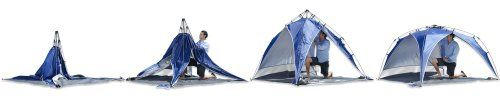 Lightspeed Outdoors Quick Beach Canopy Tent, Blue  Great for beaches, parks, and sporting events, the Lightspeed Outdoors Quick Beach Canopy Tent is the perfect place to get out of the sun. It features a built-in sidewall that protects from the sun and wind. The beach canopy provides UPF 50+ shade for all-day outdoor fun on the sidelines with your team, on the sand, at the park or in the backyard. The Lightspeed Outdoors' integrated poles and bottom-pull hub system, allows for instan..