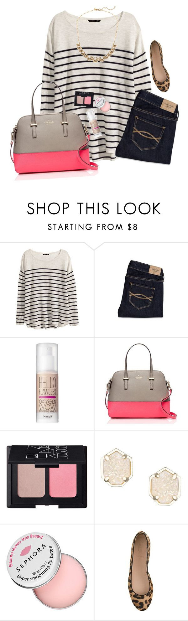 """""""Trouble... Trouble... She is trouble"""" by graciegerhart7 ❤ liked on Polyvore featuring H&M, Abercrombie & Fitch, Benefit, Kate Spade, NARS Cosmetics, Kendra Scott, Sephora Collection, J.Crew, women's clothing and women"""