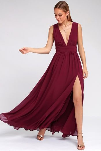 44936085a13 Heavenly Hues Burgundy Maxi Dress