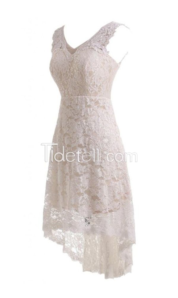 Simple A-line Lace V-neck High Low Wedding Dresses Zipper-up V-back