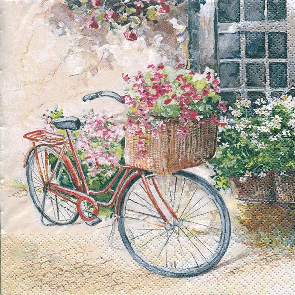 Serviett, 33x33 cm - Flower bike