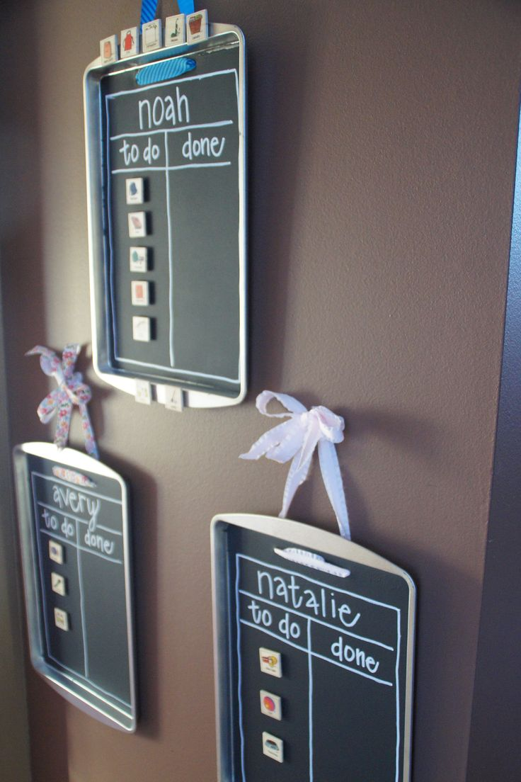 Chore chart DIY with cookie sheets and chalkboard paint! So cute! Might
