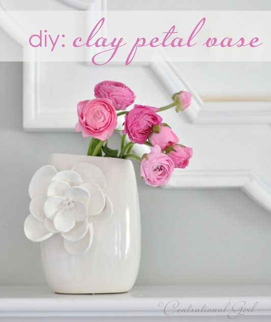 pretty!Petals Vases, Crafts Projects, Flower Vases, Clay Flower, Diy Home, Diy Clay, Spring Crafts, Clay Petals, Diy Projects