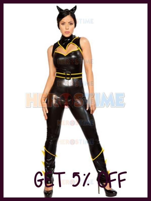 (SUP936) Batgirl Sexy Metallic Batwoman Catsuit Cosplay Superhero Zentai Halloween Party Costume