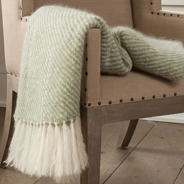 Sage Green Handwoven Mohair Throw. Fluffy and delicate in appearance yet surprisingly durable, our mohair throws can last for generations.