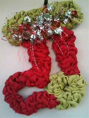 XL Handmade Burlap Shaped Stocking Wreath : $110 Made by Red-y Made Wreaths. Like & Follow us on Facebook https://www.facebook.com/pages/Red-y-Made-Wreaths/193750437415618 or Visit us at www.redymadewreaths.com