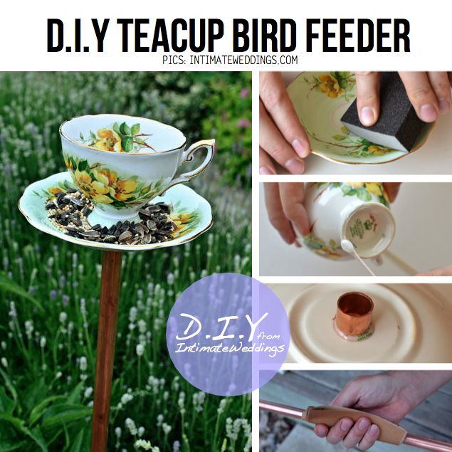 DIY bird feeder ideas | DIY Vintage Tea cup Bird Feeder from IntimateWeddings.com, full DIY ...