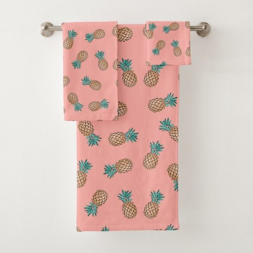 cute summer tropical faux gold pineapple pattern bath towel set