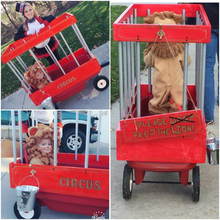 DIY Halloween baby toddler lion costume circus wagon cage ringmaster homemade wood pvc pipe