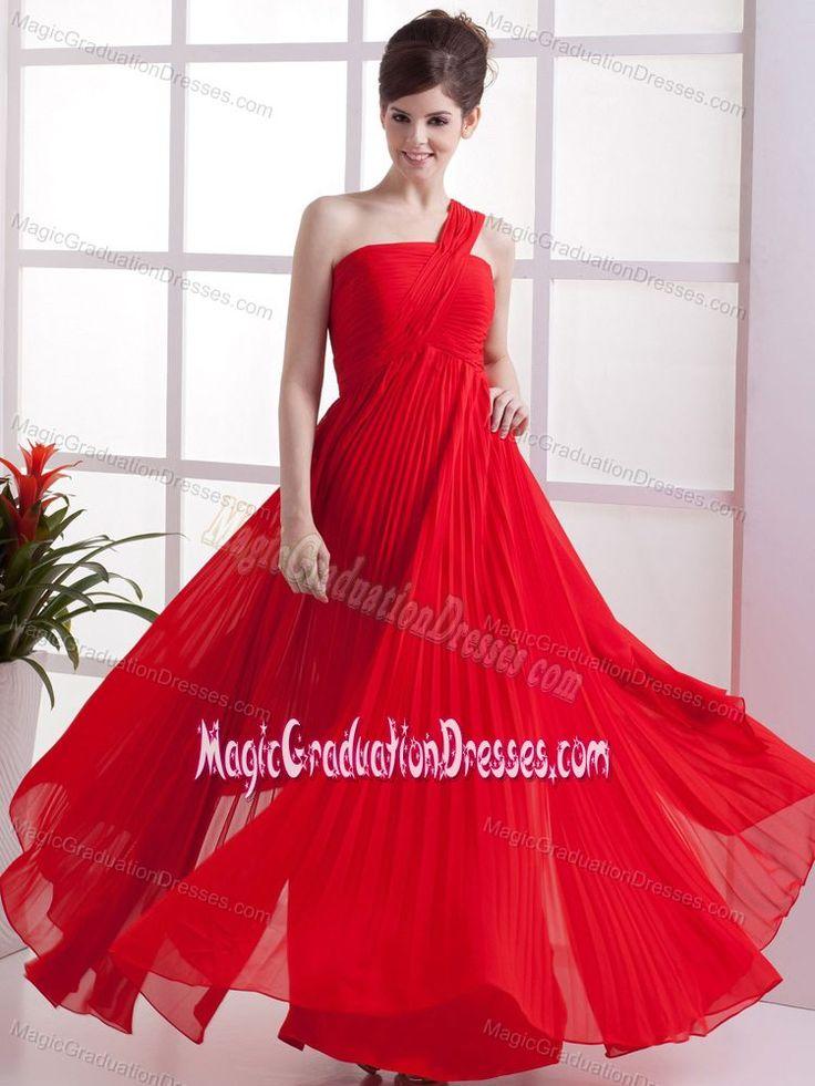 Pleated One Shoulder Red Chiffon Long University Graduation Dresses