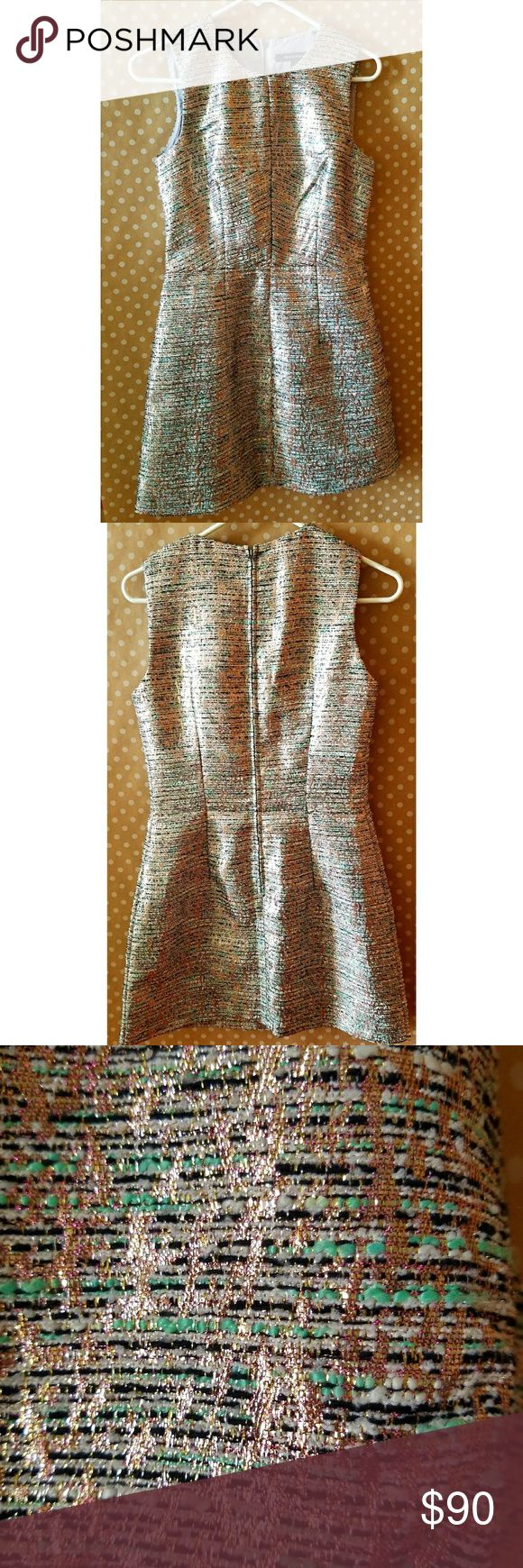 French Connection Metallic Cocktail Dress Tweed fit & flare fun summer mini dress.  Like new condition. French Connection Dresses Mini