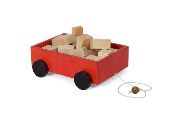 WOOD WAGON PULL TOY with CLASSIC BUILDING BLOCK SET Amish Handmade Wooden Toys and Blocks