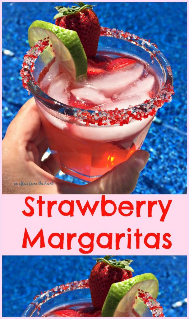 Sauza Strawberry Margaritas An Affair from the Heart - Perfectly sweet Sauza Strawberry Margaritas — made by the pitcher, perfect for poolside sipping. @SauzaTequila