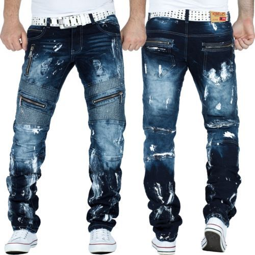 KOSMO Lupo Uomo Jeans Tempo Libero streetwear Clubwear Dope Swag Biker Style TOP