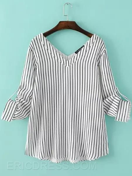 Ericdress Stripped V-Neck Blouse Blusas                                                                                                                                                                                 Más