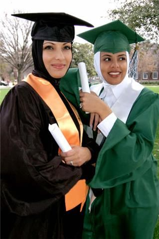 Hijab Style with Graduation Caps