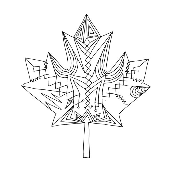 Download Colouring Page Image File    Abstract Line Drawing / Page 5818 / The 10,000 Page Colouring Book / Canadian Maple Leaf / Celeb...