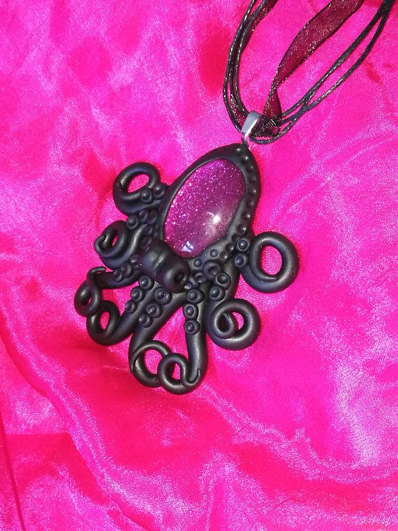 Purple Octopus necklace glass cabochon with polymer clay