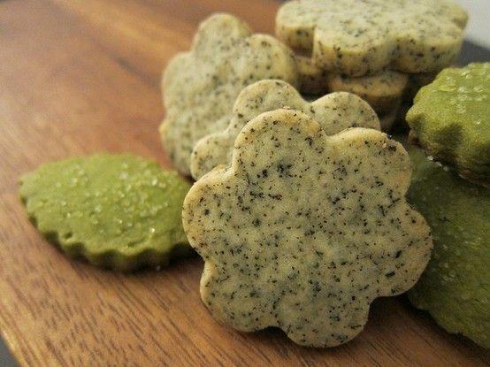 mmm! Earl grey tea and matcha green tea shortbread cookies
