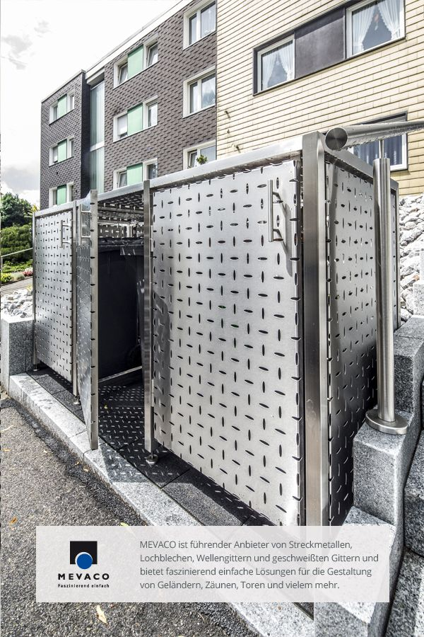 Das optimale Versteck für Mülltonnen: Die Edelstahl-Müllboxen der JVA Remscheid. Gestaltet mit MEVACO Lochblech der Art Creativ Line. Höchste Qualität für marktübliche Konditionen. Mehr unter http://www.mevaco.de/fascination-47 #MEVACO #Lochblech #Edelstahl #Creativ-Line-Ellipse #FaszinationNo47