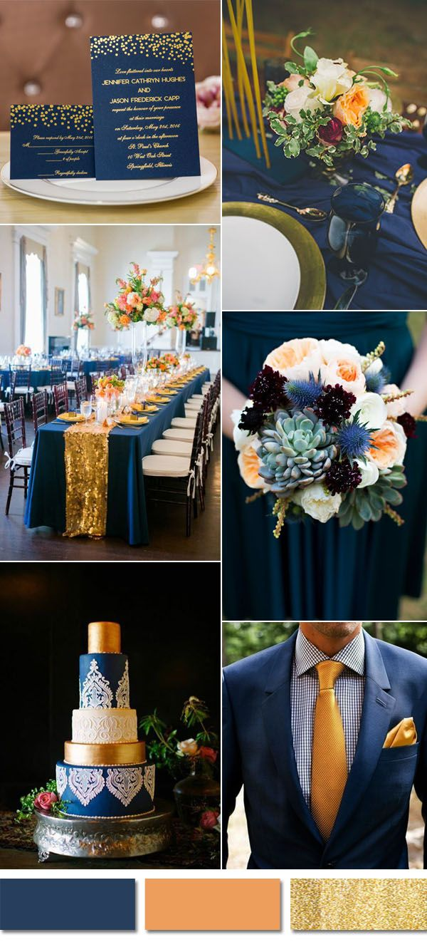 blue and peach wedding color inpiration with gold foiled wedding invites