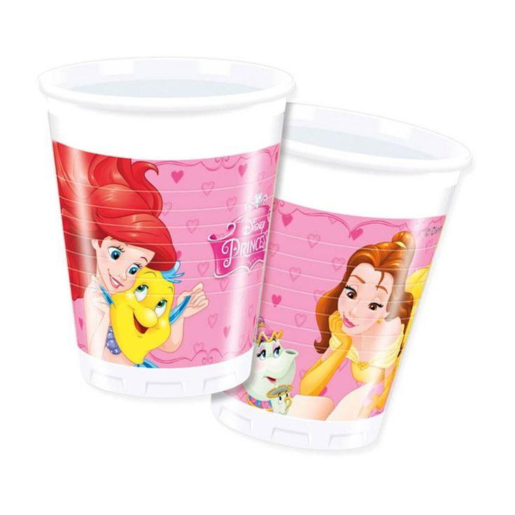 Maak je prinsessenfeest compleet met deze Disney Prinses bekers. De set bevat 8 wegbwerpbekertjes van wit kunststof met een afbeelding van de disney prinsessen erop. Inhoud: 200ml. Afmeting: inhoud 200 ml - Disney Prinses Bekers, 8st.