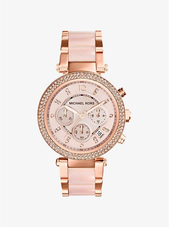 Parker Rose Gold-Tone Blush Acetate Watch