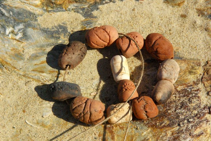 earthy pit fired ceramic bead necklace by colourclothclay on Etsy