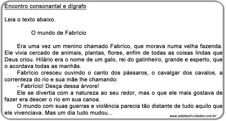 Atividades de português, atividades de encontro consonantal e dígrafo,Sala de Atividades