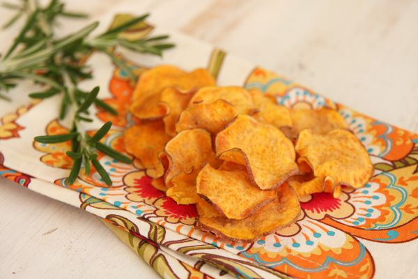 Crispy Baked Sweet Potato Chips with Rosemary Garlic Salt - Our Best Bites