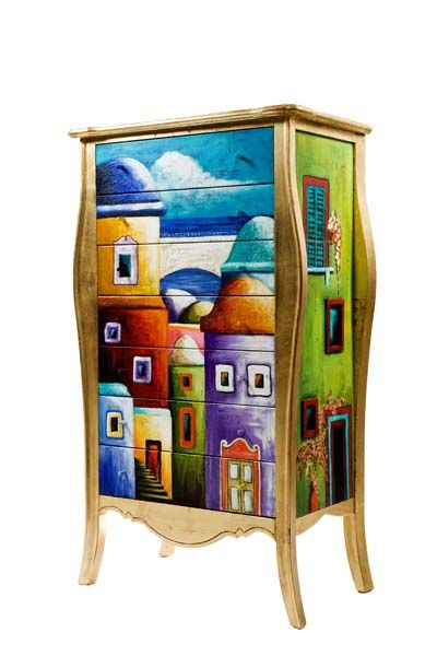 Cabinet with drawers decorated and painted - Unique Piece